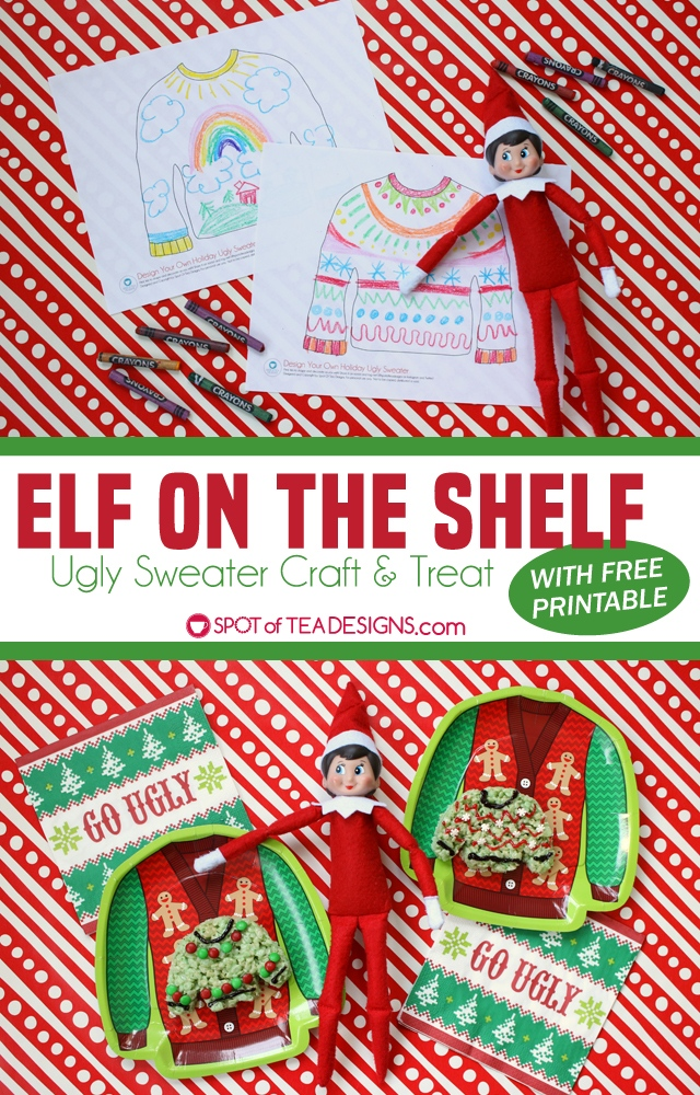 photograph regarding Elf Template Printable named Elf upon the Shelf - Hideous Sweater Craft with Cost-free Template