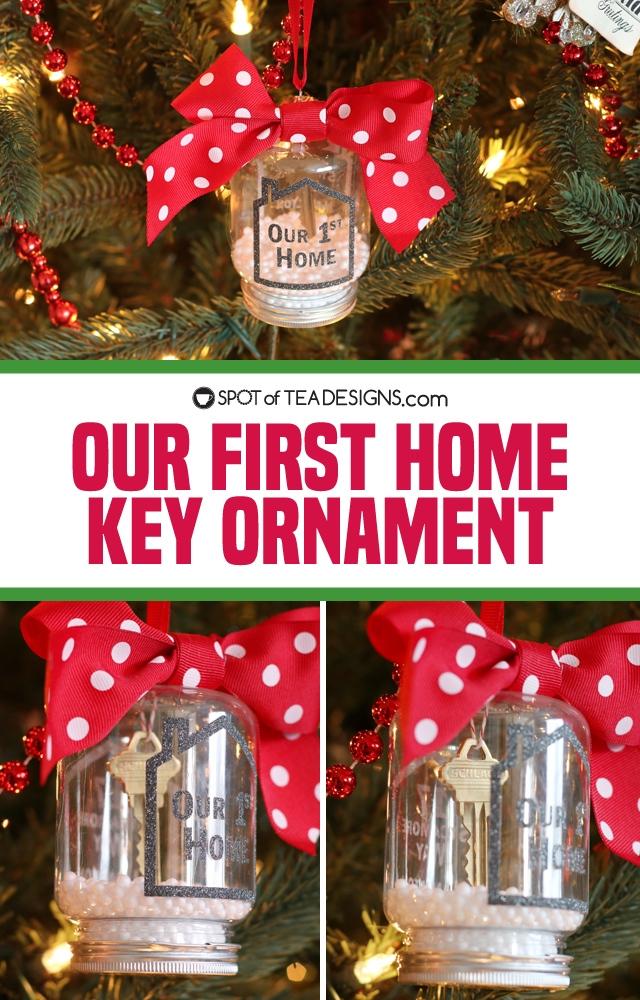 our first home key ornament using Cricut vinyl   spotofteadesigns.com