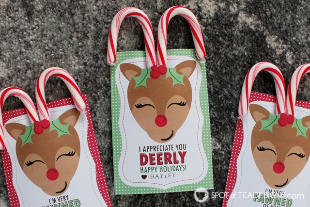 Reindeer candy cane favor tags - great for classmates, coworkers or any friend this holiday season   spotofteadesigns.com