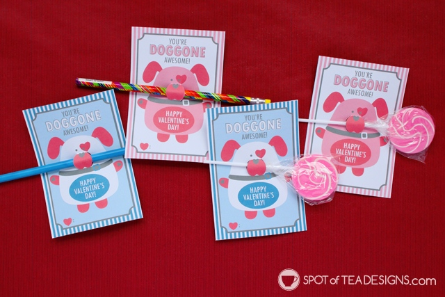 Printable Classroom Valentine's - dog themed pencil or lollipop holders | spotofoteadesigns.com