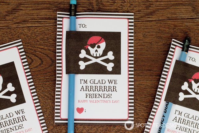 Printable Classroom Valentine's - pirate themed pencil holders | spotofoteadesigns.com