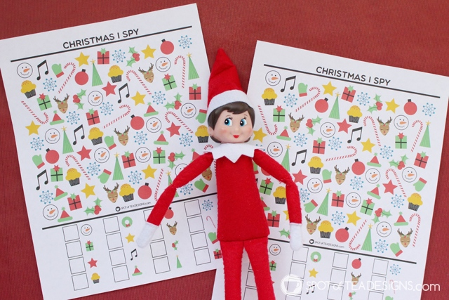 Elf on the Shelf Idea - Christmas I Spy Free Printable | spotofteadesigns.com