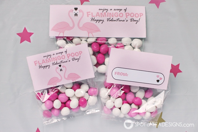 Flamingo poop printable valentine's bag toppers available for instant download | spotofteadesigns.com
