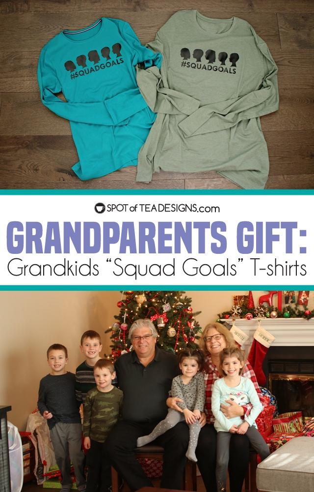 Grandparents gift: Grandkids squad goals tshirt using Cricut Vinyl   spotofteadesigns.com