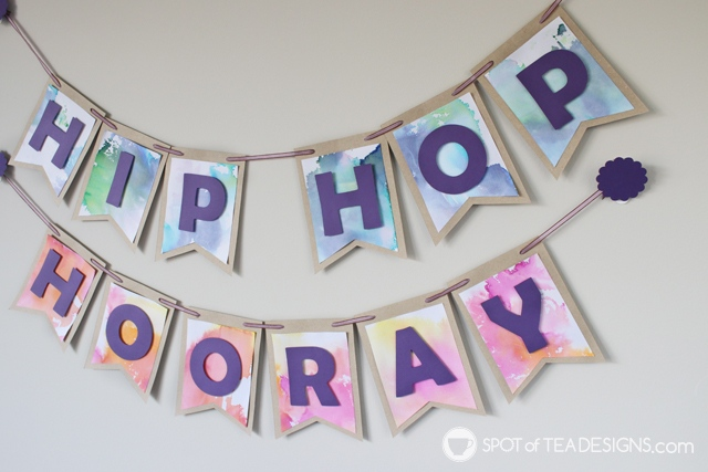 Bleeding tissue paper kids craft - Hip hop hooray easter garland | spotofteadesigns.com