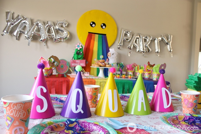 """Squad goals party hat centerpiece idea for kids birthday party, complete with free SVG file for this font matching a """"Selfie Celebration"""" party line 