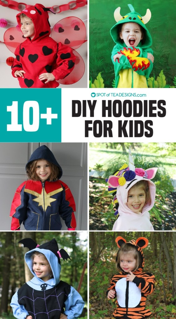 DIY Hoodies for kids - some no sew and some with free templates!   spotofteadesigns.com