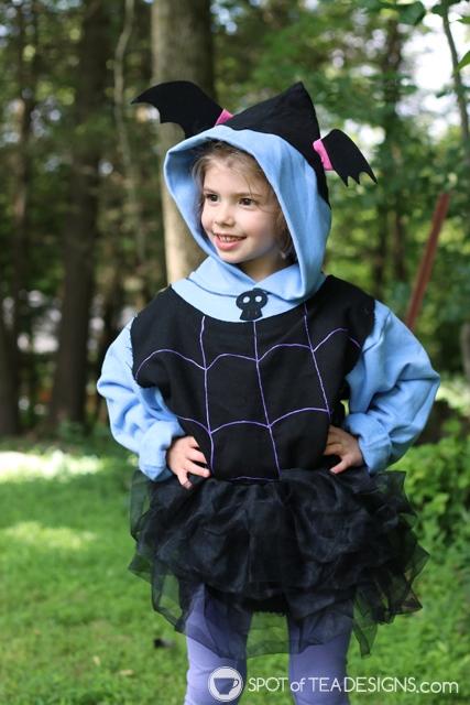 DIY Hoodies for kids - vampirina with free template   spotofteadesigns.com