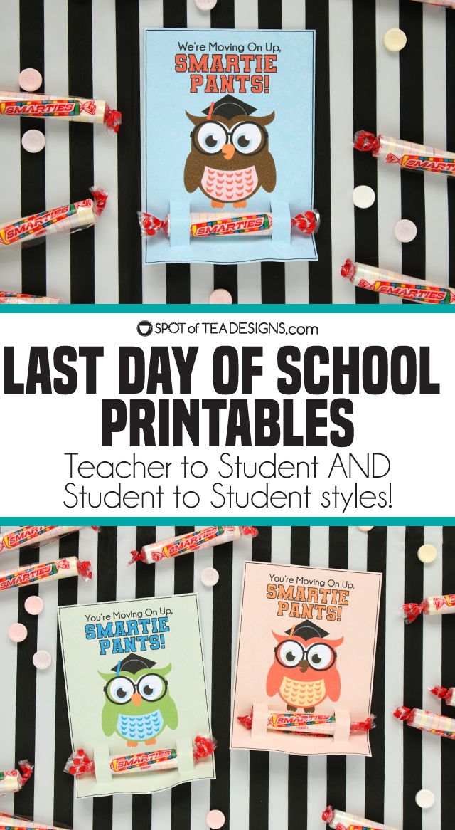 graphic relating to Smartie Pants Printable named Closing Working day of Higher education Printables Sweet Holders Destination of Tea