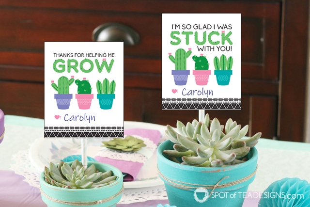 Teacher appreciation printables - succulents cactus themed | spotofteadesigns.com