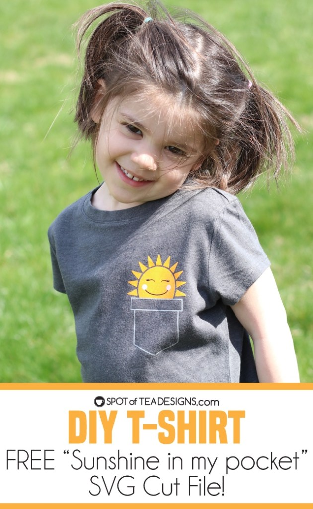 DIY T-shirt - Sunshine in my pocket with free SVG file | spotofteadesigns.com