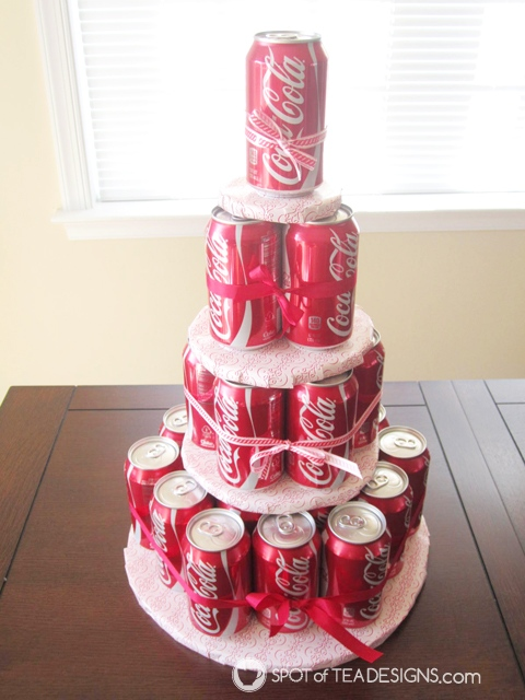 Non edible cake gifts they'll love and how to make them - soda can cake (or make with beer cans!) | spotofteadesigns.com