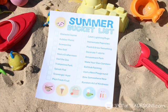 Summer bucket list printable plus a glimpse into our summer morning routine   spotofteadesigns.com