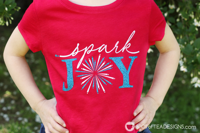 """DIY T-shirt - free """"spark joy"""" SVG cut file for the perfect Memorial Day or Fourth of July t-shirt! 