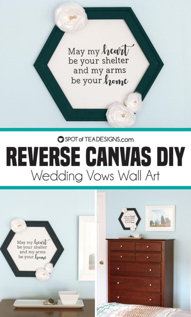 Reverse canvas wedding vows wall art | spotofteadesigns.com