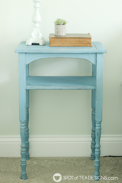 Guest room table makeover with chalky finish paint | spotofteadesigns.com