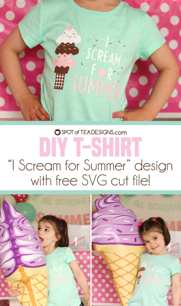 """I scream for summer"" ice cream themed DIY tshirt with a free SVG cut file to download 
