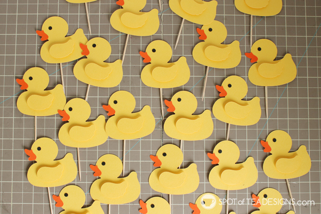Rubber Duck Cupcake Toppers with free pdf and svg templates | spotofteadesigns.com