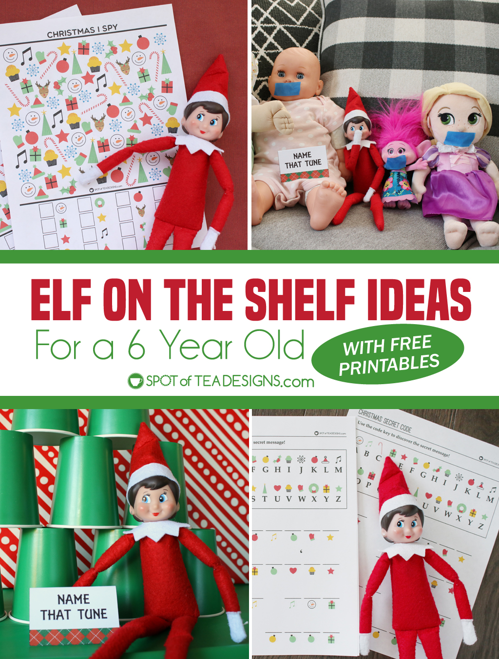 Elf on the shelf ideas for a 6 year old printable schedule | spotofteadesigns.com