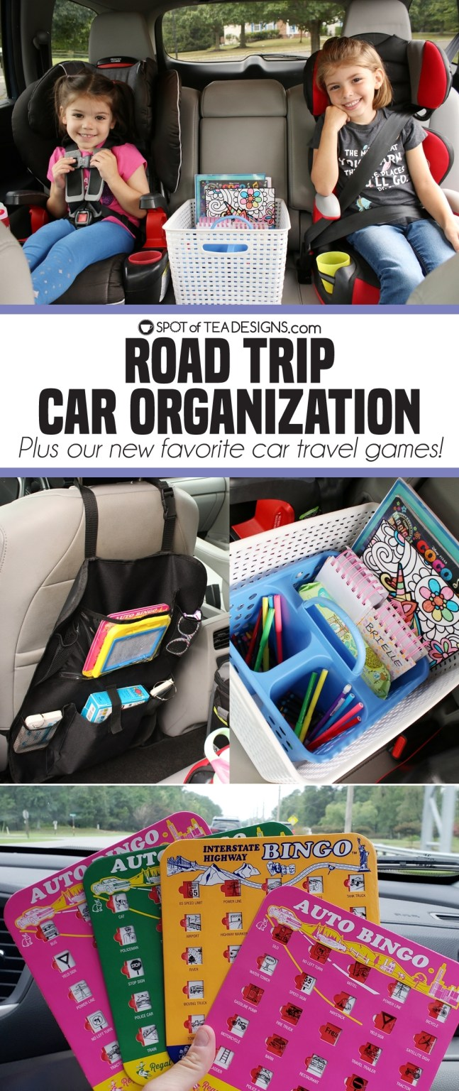 Road trip car organization - plus our new favorite car travel games! | spotofteadesigns.com
