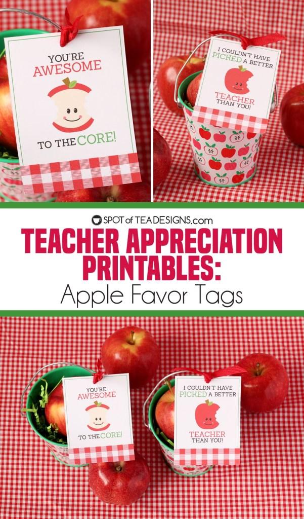 Teacher appreciation printables - apple tags | spotofteadesigns.com