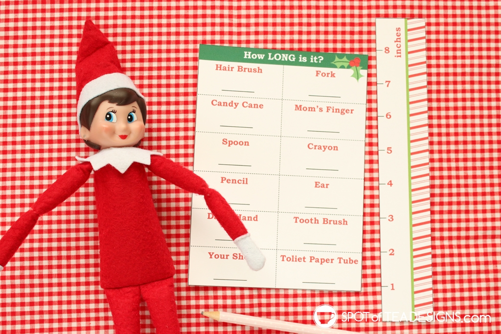 Elf on the shelf idea: measurement activity with free printable | spotofteadesigns.com