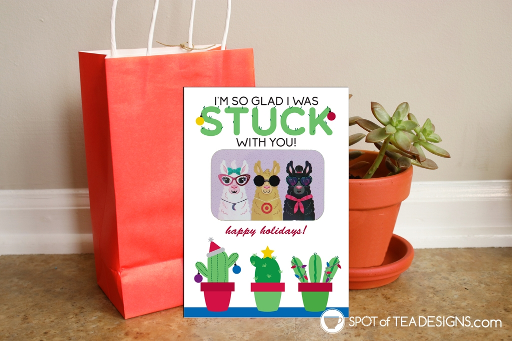 Stuck on you Christmas cactus teacher appreciation gift card holders | spotofteadesigns.com