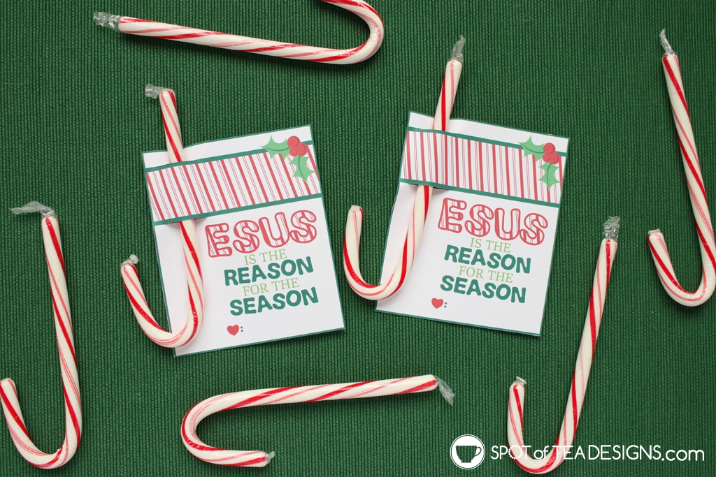 Jesus is the reason for the season candy cane holder | spotofteadesigns.com