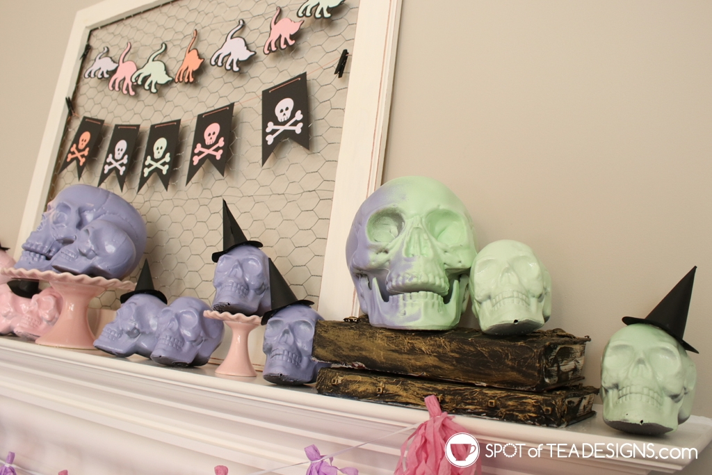 Pastle Halloween mantle | spotofteadesigns.com