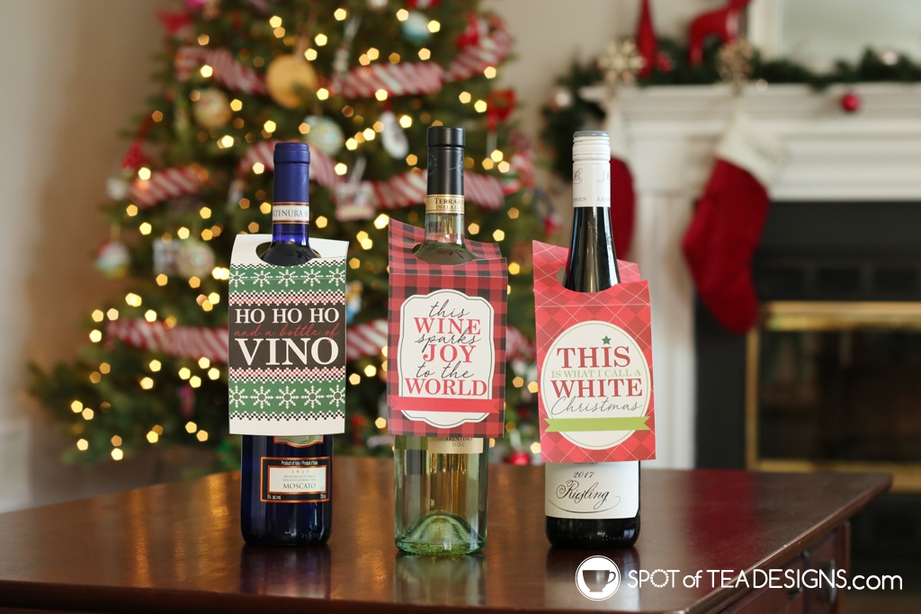 Printable Christmas wine bottle tags - add to your favorite bottle of vino | spotofteadesigns.com