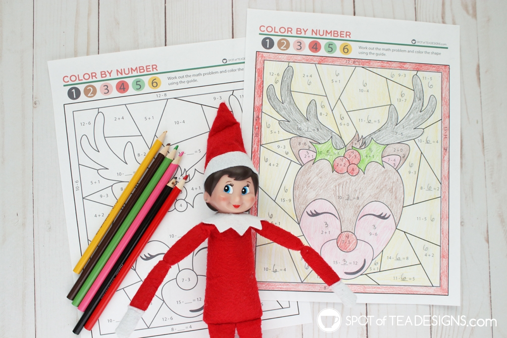 Christmas color by number math activity sheet - free printable focused on addition and subtraction for a 6 or 7 year old | spotofteadesigns.com
