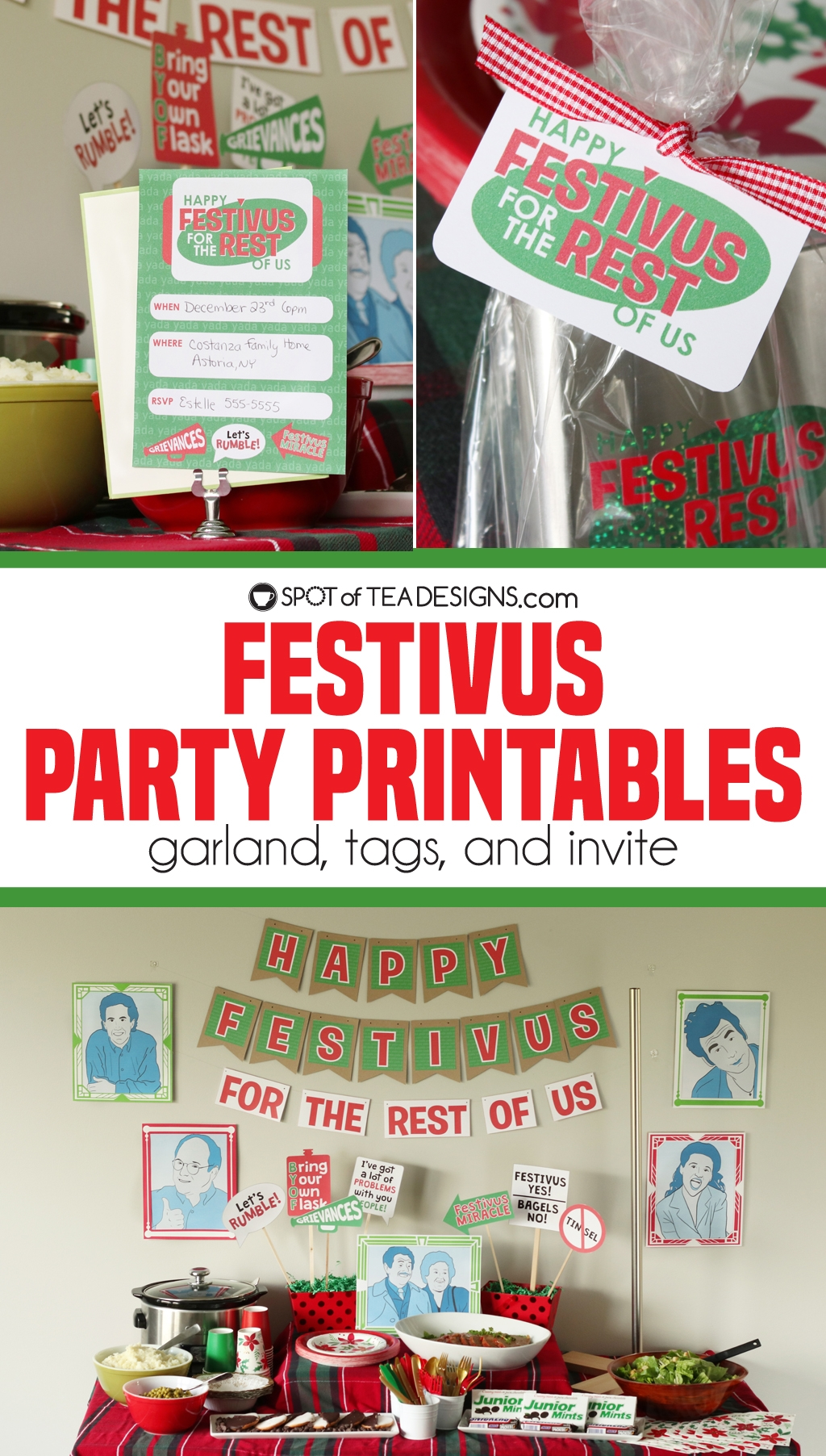 Festivus party printables - use the garland, invite and favor tags for your December 23rd party inspired by the famous Seinfeld episode | spotofteadesigns.com