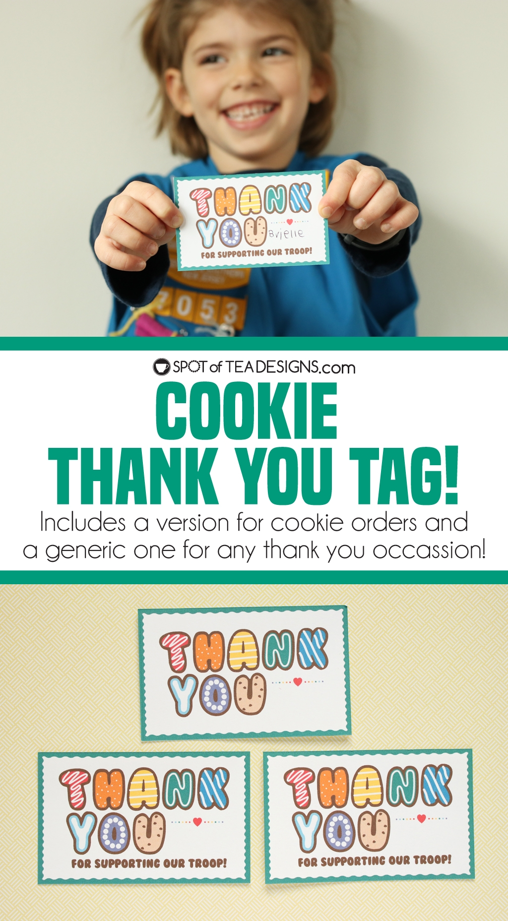 Rainbow cookie thank you tag - tie to cookie orders or use the generic tag for any thank your reason! | spotofteadesigns.com