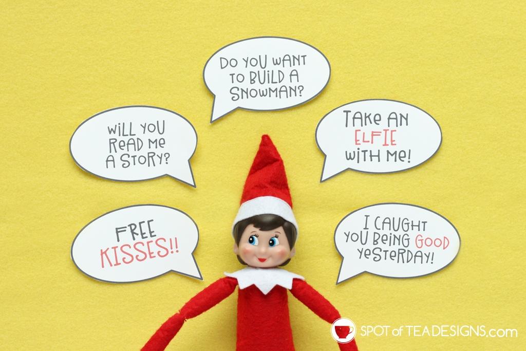 Elf on the shelf idea: word bubble printable | spotofteadesigns.com