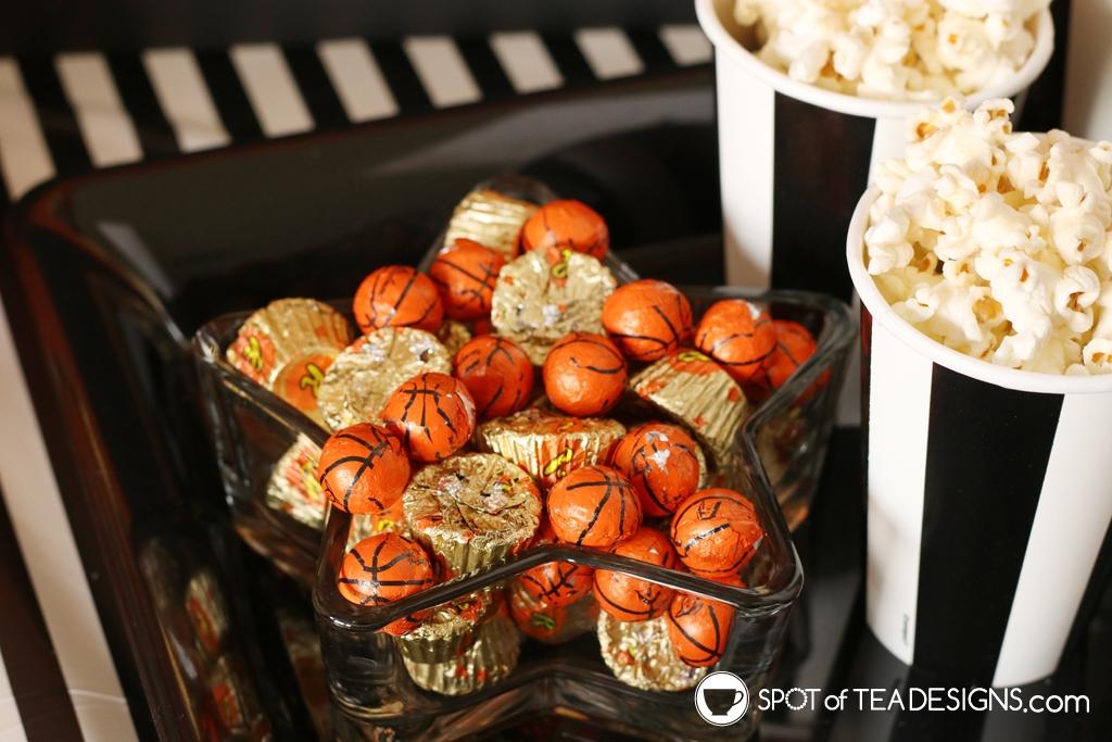 Basketball party hacks - mixed themed treats with standard treats   spotofteadesigns.com