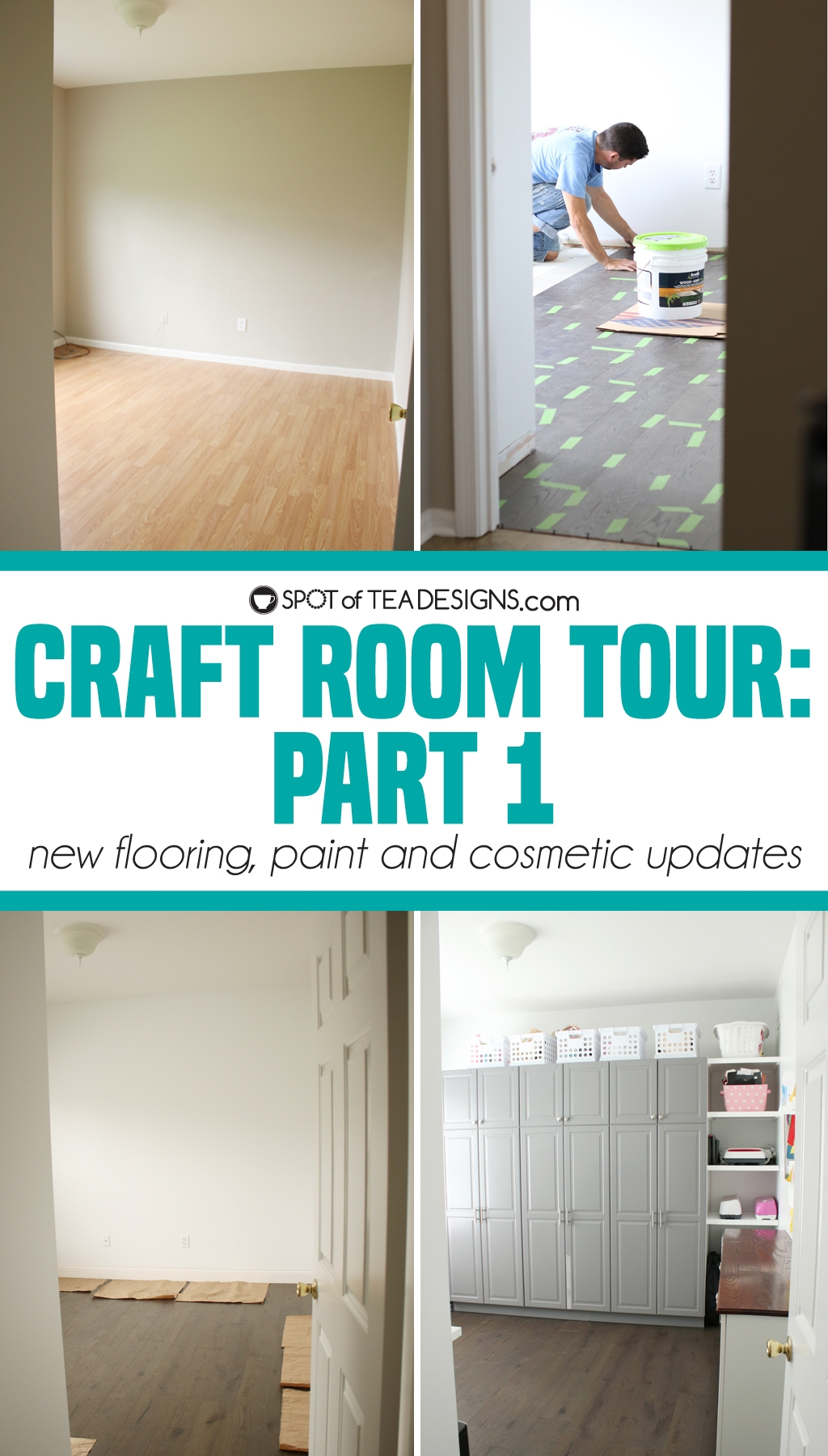 Craft Room Tour - part 1: new flooring, paint and other cosmetic changes | spotofteadesigns.com