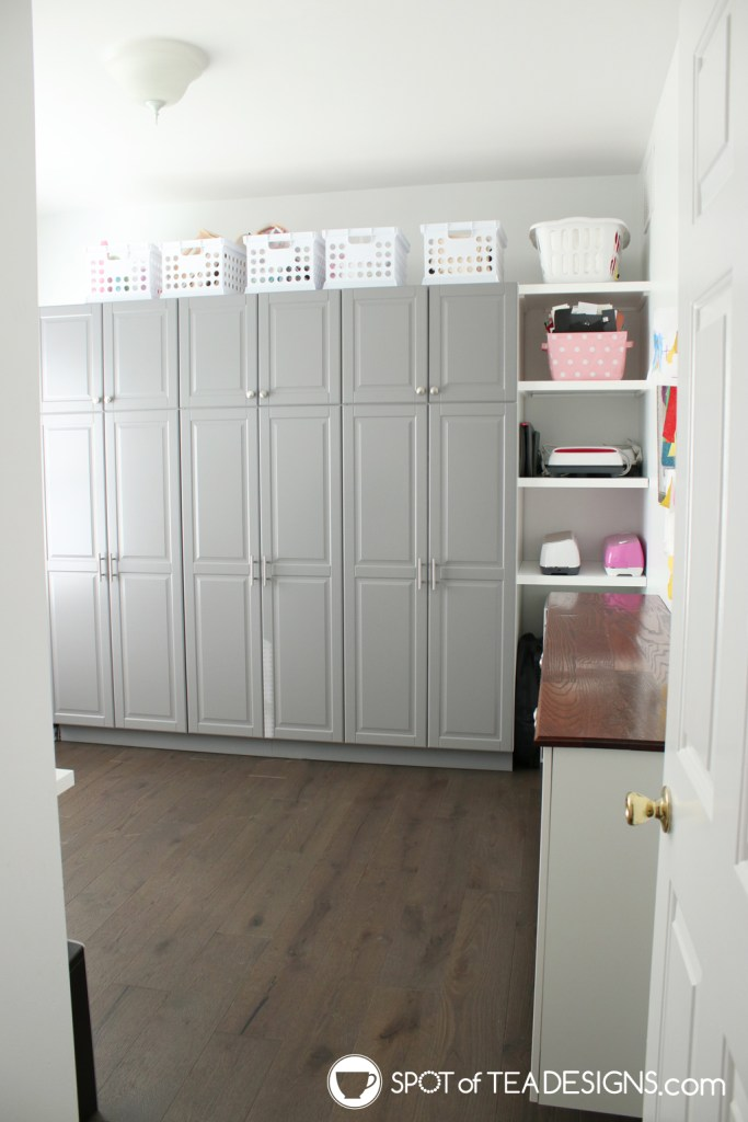 Craft Room Tour - ikea kitchen pantry cabinets as office storage | spotofteadesigns.com