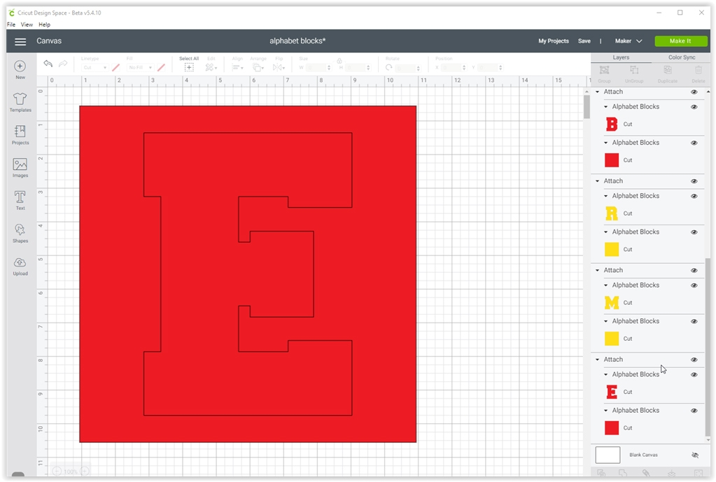 DIY Alphabet blocks with SVG cut file - cricut canvas screenshot | spotofteadesigns.com