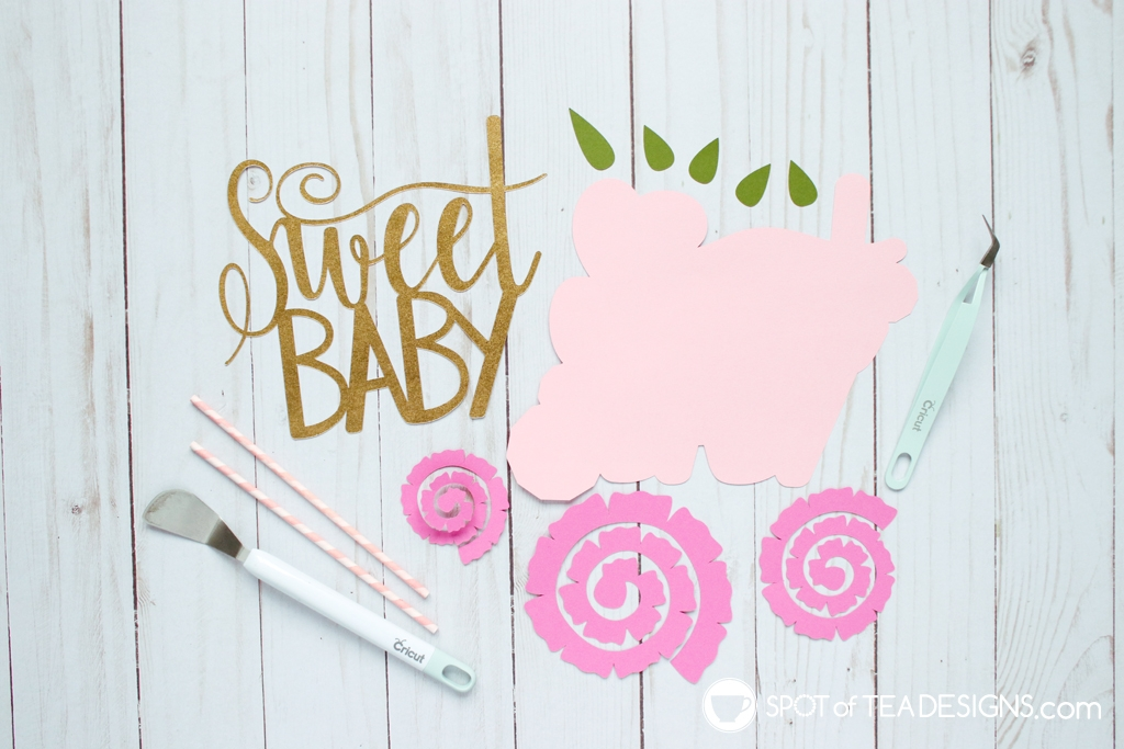 Floral baby shower - DIY cake topper with rolled paper flowers - diecut pieces | spotofteadesigns.com