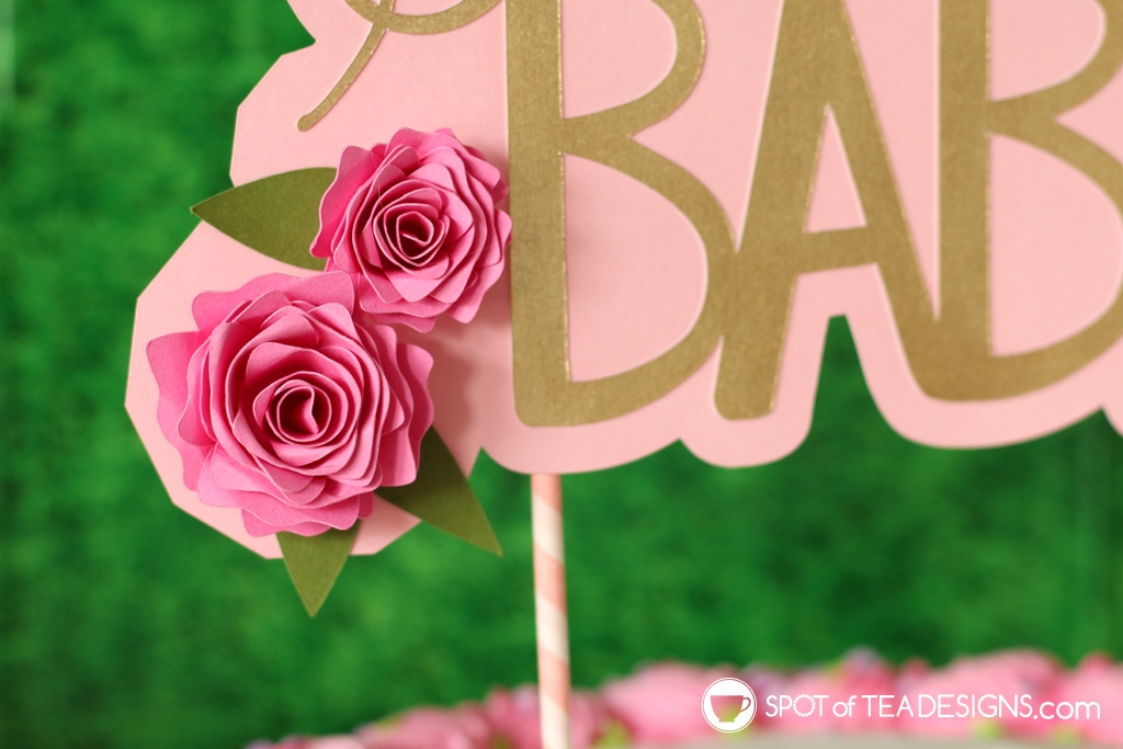 Floral baby shower - DIY cake topper with rolled paper flowers - close up | spotofteadesigns.com