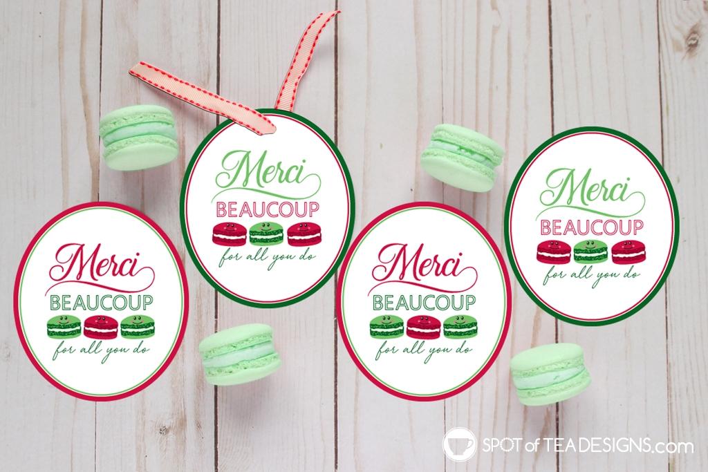 15+ Teacher appreciation printables - Merci beaucoup Christmas tags | spotofteadesigns.com