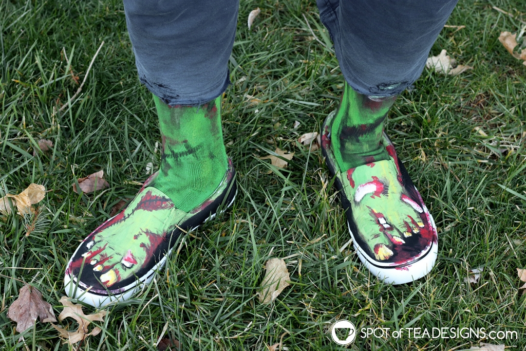 DIY zombie feet shoes - made with paint! | spotofteadesigns.com