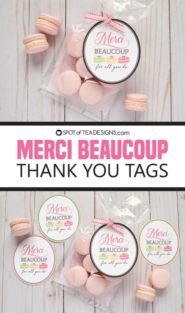 Merci beaucoup thank you tags - great for teacher appreciation | spotofteadesigns.com