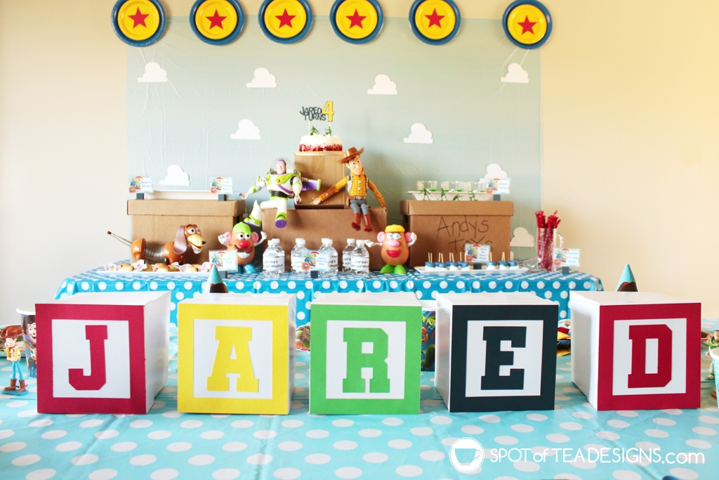 DIY Alphabet blocks for party decor - free svg file to make them for a toy story party! | spotofteadesigns.com