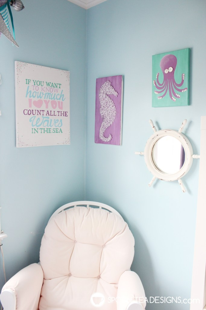 Under the sea nursery - handmade artwork corner | spotofteadesigns.com
