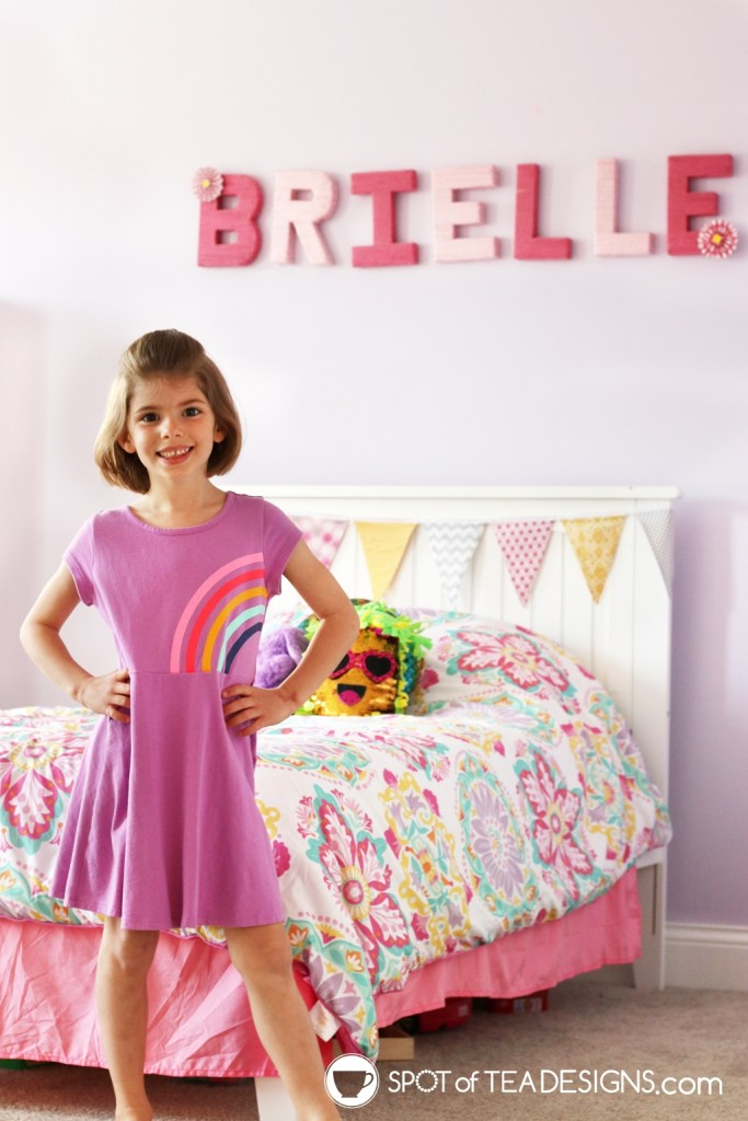 Girl's bright and colorful bedroom tour - yarn wrapped letters | spotofteadesigns.com