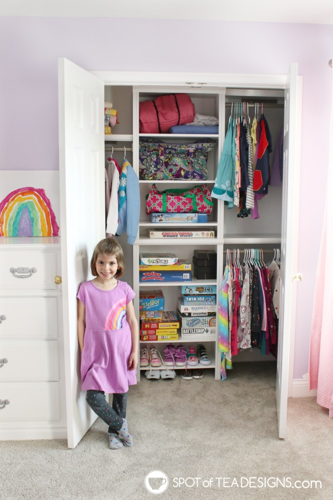 Girl's bright and colorful bedroom tour - closet organization after | spotofteadesigns.com