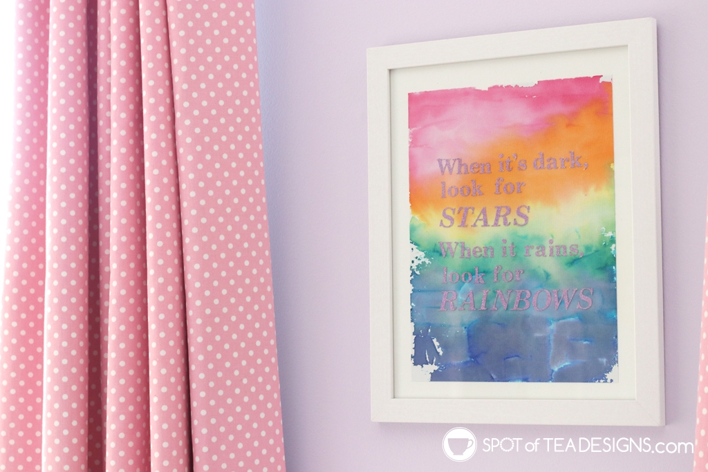 Girl's bright and colorful bedroom tour - bleeding tissue paper framed art | spotofteadesigns.com