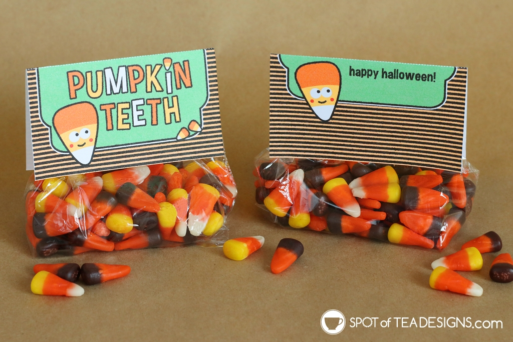 Printable Halloween Bag toppers - pumpkin teeth pair well with candy corn | spotofteadesigns.com