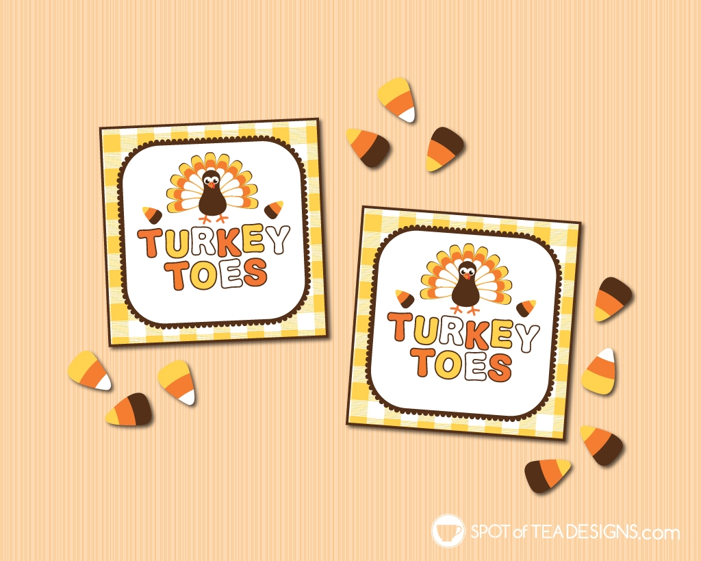 Turkey Toes Thanksgiving tags - add to a bag of candy corn | spotofteadesigns.com